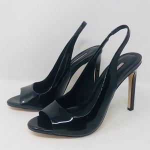 BCBG, 8.5, Black Patent Leather, PeepToe Stilettos
